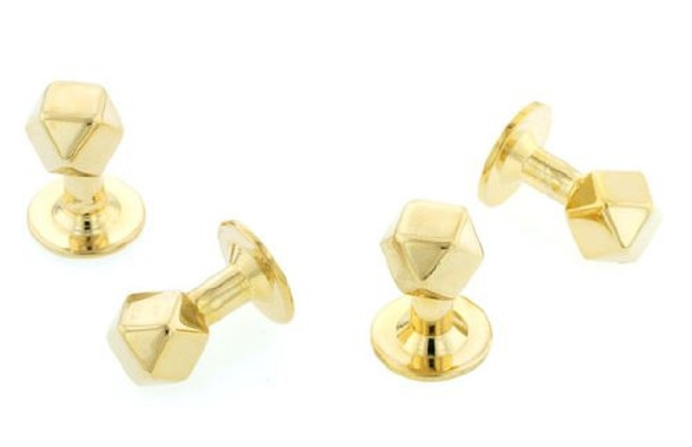 Gold plated set of 4 shirt studs with presentation box. Made in the USA