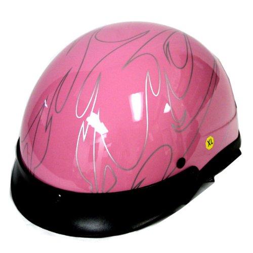 Motorcycle Street Bike Scooter Half Face Vespa Helmet Flame Pink -