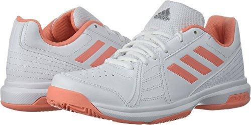 adidas Women's Aspire Tennis Shoe, White/Chalk Coral/Metallic Silver, 9.5 M US