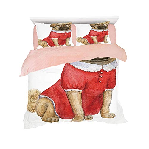 All Season Flannel Bedding Duvet Covers Sets for Girl Boy Kids 4-Piece Full for bed width 4ft Pattern Customized bedding for girls and young children,Pug,Cute Dog in Red Dress Animal Cartoon Style Des