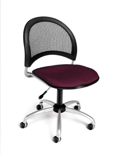 OFM Moon Series Armless Fabric Swivel Chair, - Fabric Swivel Burgundy