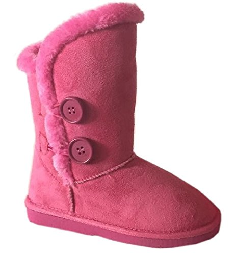 Arnina AMBER-2 kids girls Boots Furry Faux Suede Fur Lined Button Winter Bootie Pink 9 -