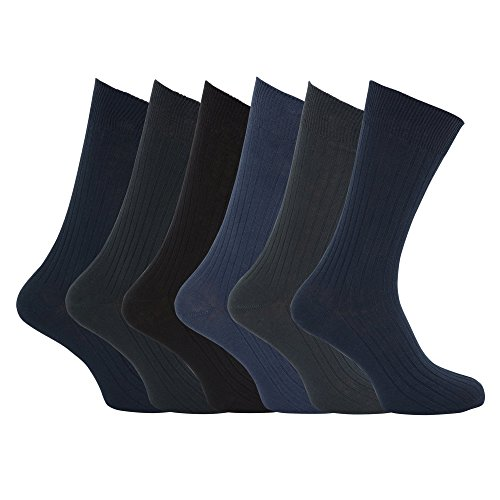 Mens XL Ribbed 100% Cotton Socks Sizes US 12 To 15 (Pack Of 6) (US 12-15) (Design 1)