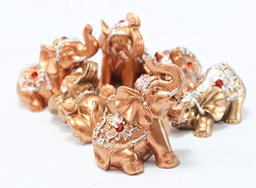 Mose Cafolo Set of 6 Pinky Rose Gold Color Lucky Elephants Statues Feng Shui Figurine Home Decor Housewarming Birthday (Elephant Statues Home For)