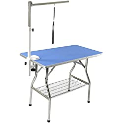 "Flying Pig 44""x24"" Large Heavy Duty Stainless Steel Frame Foldable Pet Grooming Table, Blue"