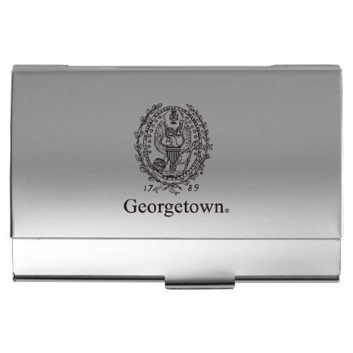 (LXG, Inc. Georgetown University - Two-Tone Business Card Holder - Silver)