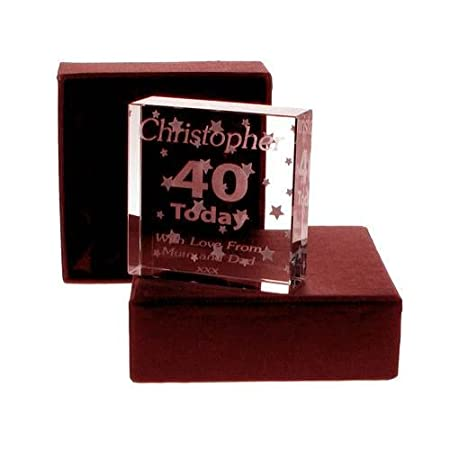 Engraved 40th Birthday Jade Block For Him Gift Keepsake