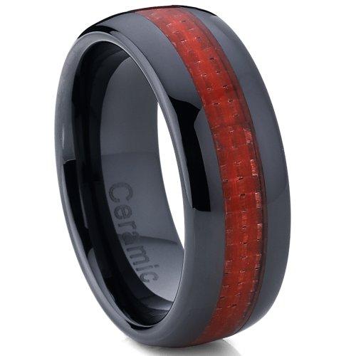Ultimate Metals Co. 8MM Bague de Mariage Céramique Noire en Forme Dome Pour Homme - Alliance Ceramique Noire Incrusté Fibre de Carbon Rouge