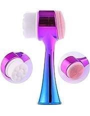 Buffer C17YT1192 Çift İşlevli Renkli Cilt Yüz Temizleme Fırçası Peeling Masaj Etkili Gözenek Temizleyici Alet, Medium