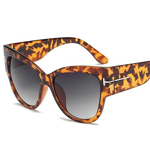 Aoligei Personnalité européenne et américaine réflectorisé lunettes de soleil fashion T mot rétro cadre grande lunettes de soleil F
