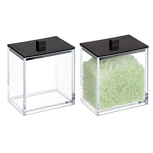 mDesign Modern Square Bathroom Vanity Countertop Storage Organizer Canister Jar for Cotton Swabs, Rounds, Balls, Makeup Sponges, Bath Salts - 2 Pack - Clear/Matte Black ()