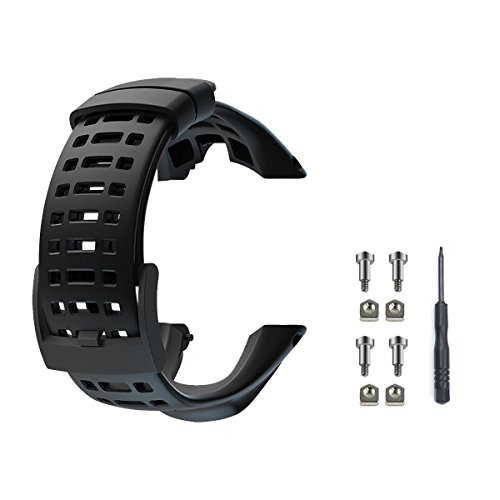 to Watch Band Strap, Soft Rubber Watchbands Replacement Kits, Watch Accessories for Suunto Ambit 1/2/2S/2R/3Sport/3Run/3PEAK (Black, Include 1Screwdriver + 4Screws) ()