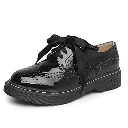 Women's Round Toe Platform Shoes Korean Casual Loafers Black - 7