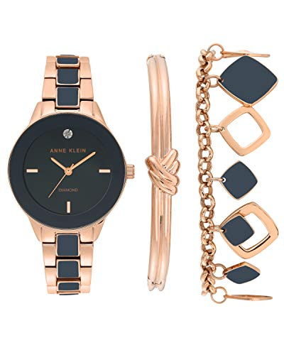Anne Klein Women's Genuine Diamond Dial Rose Gold-Tone and Navy Blue Watch with Bracelet Set, AK/3348NRST from Anne Klein