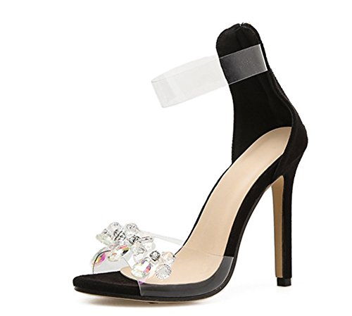 mit Schwarz Reißverschluss Damen Transparent Knöchelriemchen Strass Blumen Stiletto Aisun PVC Sandale 8vazwxq