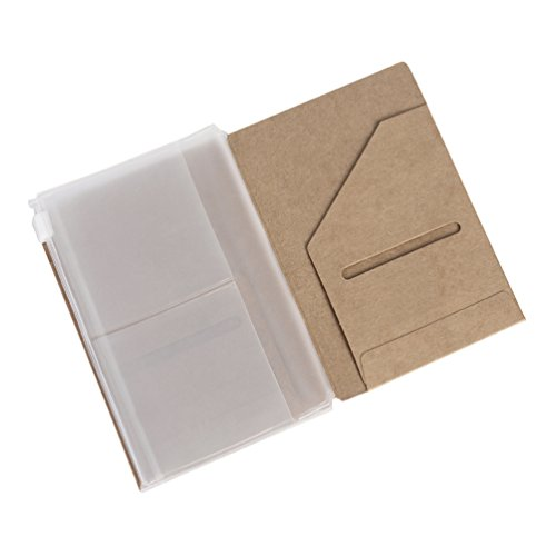 Zipper Punch & Kraft Folder Inserts for Pocket Size Travelers Notebook - 3.5 x 5.5 (File Business Card Pocket Refills)