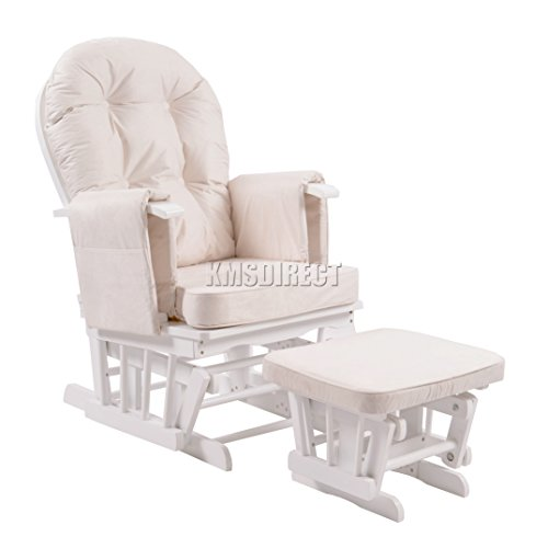 FoxHunter Nursing Glider Maternity Rocking Chair With Footstool White Wood Frame Cream Cushion Cover