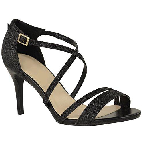 Prom Fashion Heel Wedding Low Strappy Shimmer Size Party Kitten Sandals Diamante Thirsty Womens Ladies Black Xwqx8Xr