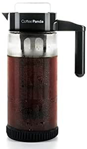 Cold Brew Coffee Maker By Coffee Panda - 1.3L / 44oz Heavy-Duty Glass Pitcher with Easy To Clean Reusable Mesh Filter and No-Slip Base - DIY Home Iced Coffee Brewer