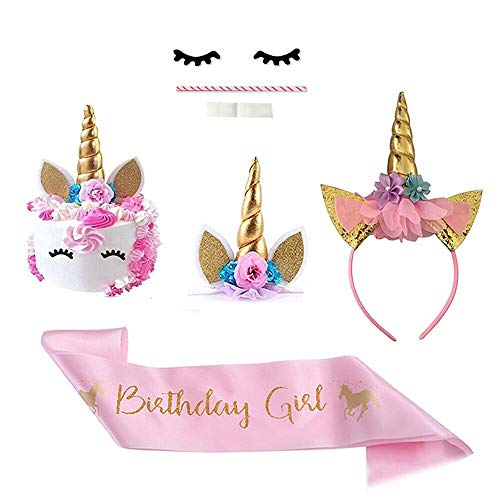 Unicorn Cake Topper with Eyelashes ,Headband and Shoulder Straps | DIY Unicorn Party Supplies Cake Decoration Kit for Birthday, Baby Shower, Wedding-7 Pieces