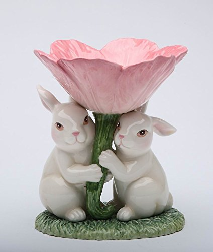 Fine Ceramic White Bunny Pair Holding Up Tulip Flower Candy Bowl, 4-3/8'' 5'' H