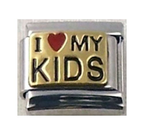 Stylysh Charms Kids I Love My Kids Enamel Italian 9mm Link FA026