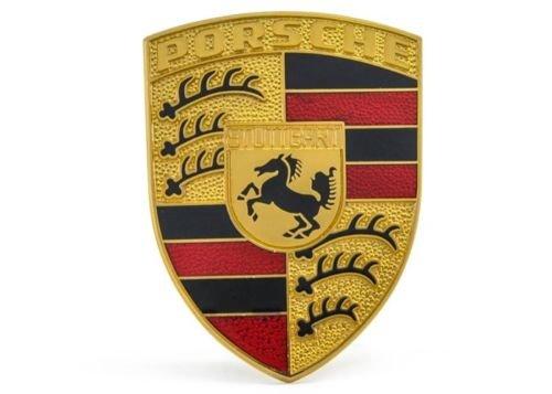 PORSCHE Hood Emblem (Red/Black) Brand New GENUINE PORSCHE