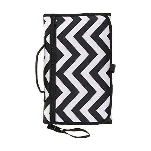 SM SunniMix Portable Changing Station for Newborn Baby Infant-Travel Home Pockets Diaper Changer Mat – Waterproof & Foldable Changing Pad Kit with Head Cushion – Black Wave, as described