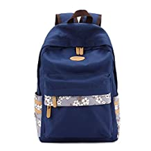 Artone Unisex Water Resistant Casual Rucksack Floral Lightweight School Backpack With Laptop Compartment Deep Blue