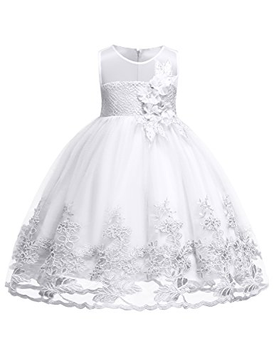 Blevonh Girl Pageant Dress Girls Double Layer Tulle Skirt Kids Flower Wedding Dresses Pageant Sleeveless Chiffon Lace Dresses Size (130) 7-8 Years White Dress by Blevonh
