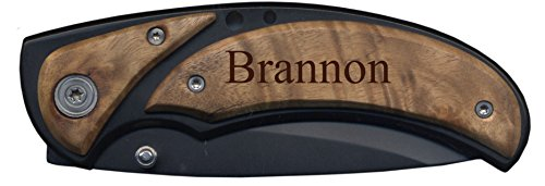 Personalized Burl Handle Pocket Knife with Clip, 3.25 Inch Black Blade, Christopher