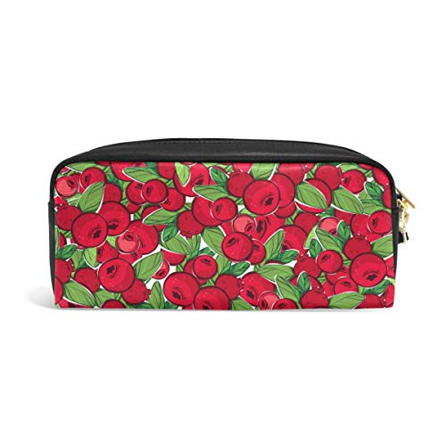 Pencil Case Big Capacity Pencil Bag Makeup Pen Pouch Vintage Cranberries with Leaves Durable Students Stationery Pen Holder for School/Office