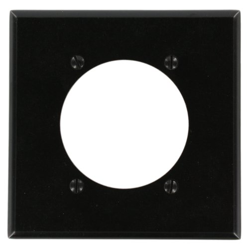 Leviton 80530-BLK 2-Gang Flush Mount 2.465-Inch Diameter, Device Receptacle Wallplate, Device Mount, Midway Size, ()