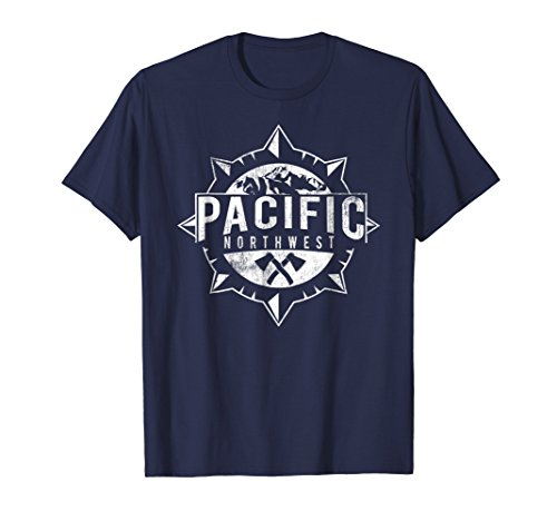 Cool Distressed Pacific Northwest T-Shirt - PNW Compass Tee