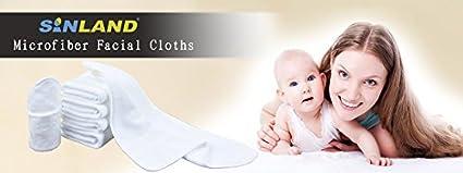 Sinland gant de toilette b/éb/é lingettes r/éutilisables en microfibre d/ébarbouillettes bebe lavables flanelle blanc 30x30cm 6pcs 30x30cm