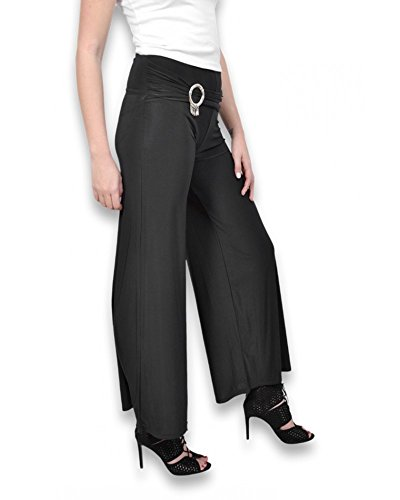 Unique Coupe Large Taille Noir Femme Pantalon Couleur zqxU7gY