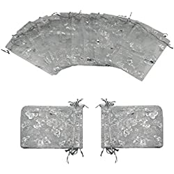 Ankirol 100pcs Mini Sheer Organza Wedding Favor Bags 4x6'' Silver Butterflies Drawstring Pouches (silver)