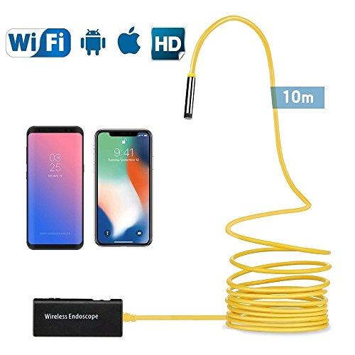 Wireless Endoscope,33FT Semi-rigid Borescope Inspection Camera 2.0 Megapixels HD IP68 Waterproof Endoscope Camera for Android and IOS Smartphone, iPhone, Samsung, Tablet by XINXI