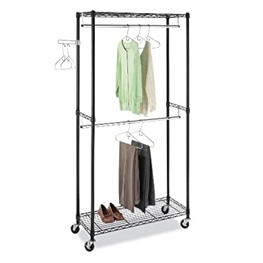 Whitmor Commercial-Grade Steel Supreme Double Rod Garment Rack, Black