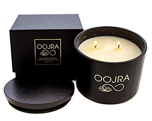 Oojra Essential Oil Thai Jasmine Bamboo Scented Soy Wax Luxury Candle 3 Wick 13 oz (370g) 75+ hours with Lid and Gift (Jasmine Glass Candle)