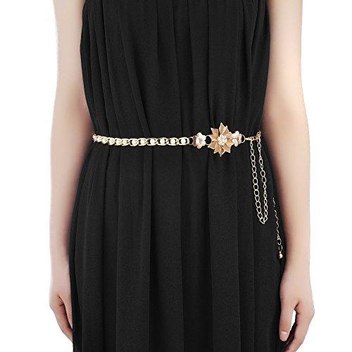 Copper Chain Belt - MoYoTo Women's Stylish Sexy Rhinestone Body Belly Chain Waist Chain Belt For Dress (Pearl)