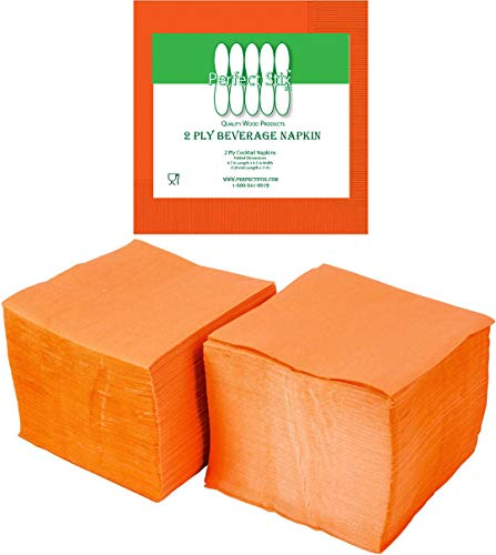 Perfectware 2 Ply Orange-200 Orange Beverage Napkin Package of 200ct- 2-Ply, 2.5