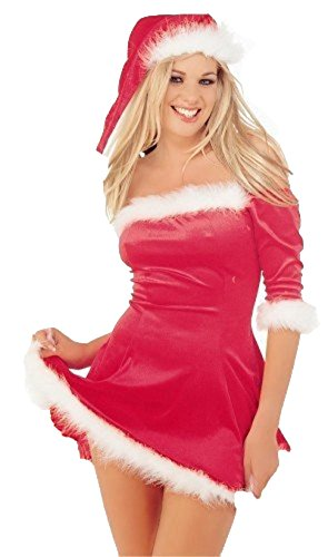 Ladies Red Velvet Sexy Santa Xmas Outfit Hat Christmas Fancy Dress (Large, RED) (Sleigh Belle Sexy Costume)