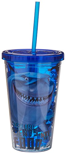Disney NM18087 Pixar Finding Nemo Bruce Plastic Cold Cup with Lid and Straw, 16-Ounces, -