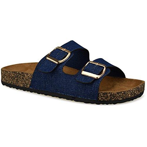 Premier Standard Women's Comfort Low Easy Slip On Sandal – Casual Cork Bottom Platform Sandal Flat – Trendy Open Toe Slide Shoe, TPS Slides-001Yrolg Blue Denim Size 7 (Slides Platform Cork)