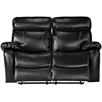 Primo International Penache Contemporary Motion Reclining Love Seat, Black