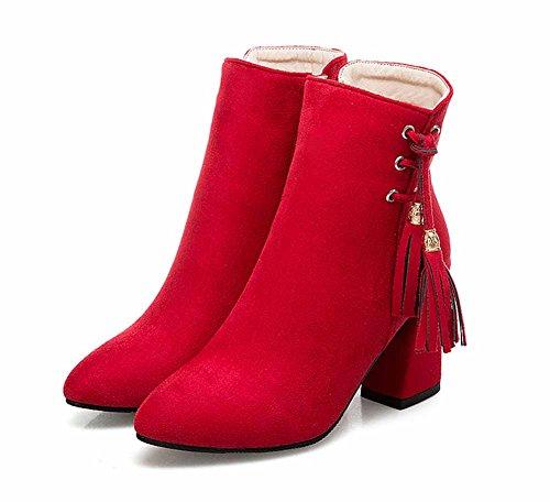 Frauen Ankle Mode Rot Stiefel Neue High Boots Wies Heel 50 Größe Herbst Quaste 40 EU RRWAx5rwq