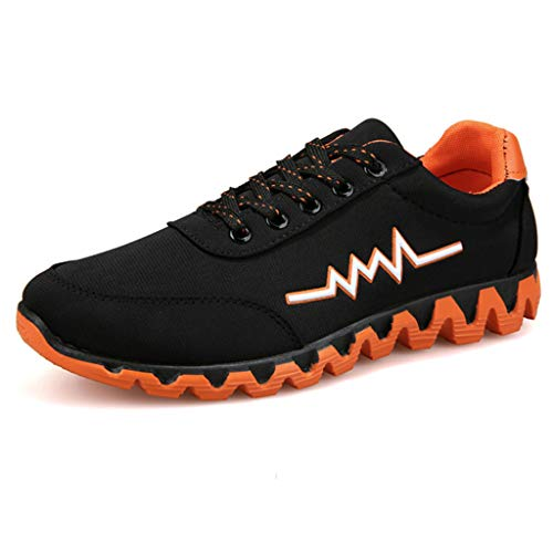 Men's Sports Loafers - Casual Canvas Sneakers Lace Up Solid Shoes,2019 New Orange from MEN SHOES BIG PROMOTION-SUNSEE