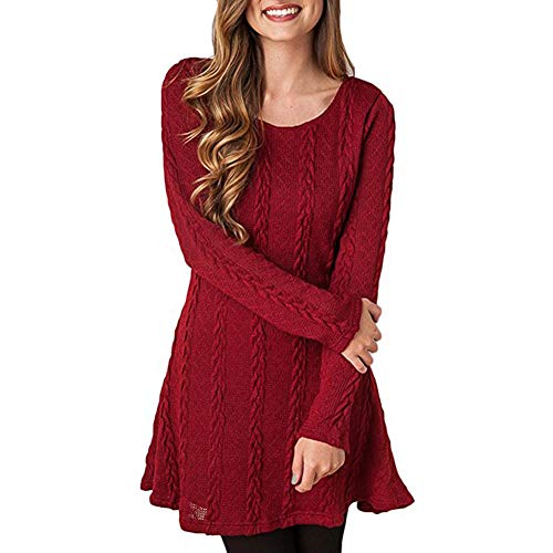 HAPEE Sweater Dresses Tunic for Women, Long Sleeve Crewneck Knit Pullover Sweater