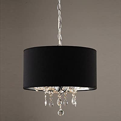 LightInTheBox 60W Modern Crystal Beaded Pendant Light with 3 Lights and Black Drum Shade Ceiling Light Fixture Chandeliers 110-120V